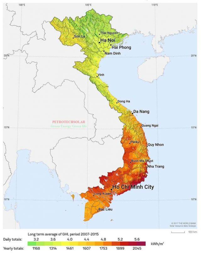 Bản đồ bức xạ mặt trời tại Việt Nam mới nhất năm 2021